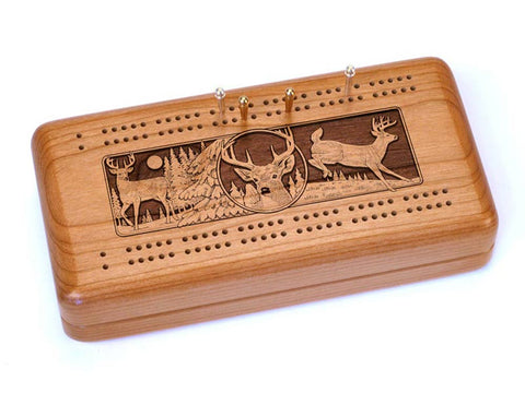 Top View of a Cribbage Board w/ Cards with laser engraved image of Deer Collage