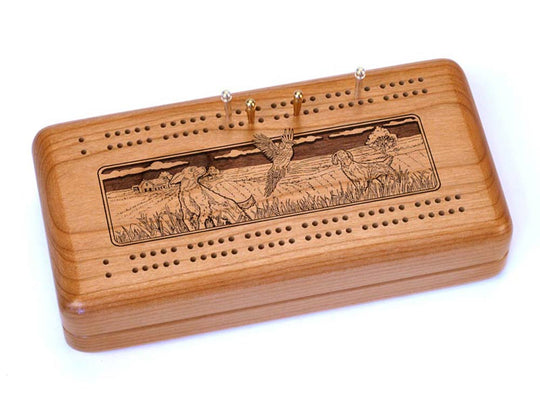 Top View of a Cribbage Board w/ Cards with laser engraved image of Dogs & Pheasant