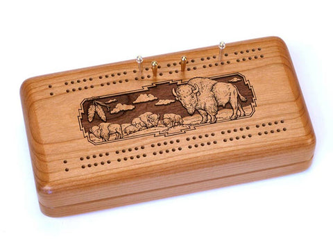 Top View of a Cribbage Board w/ Cards with laser engraved image of Bison