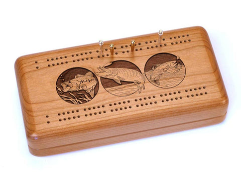 Top View of a Cribbage Board w/ Cards with laser engraved image of Fishing