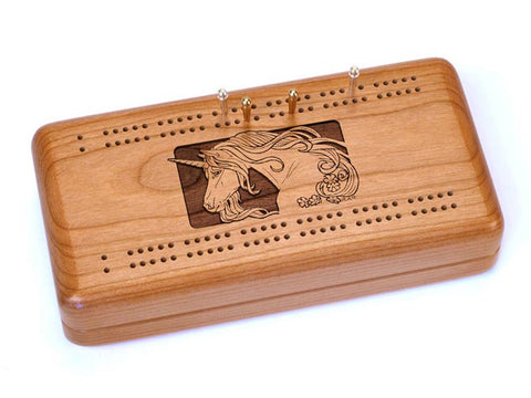 Top View of a Cribbage Board w/ Cards with laser engraved image of Unicorn