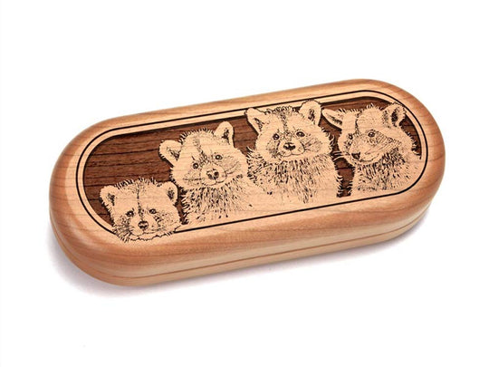 "Top View of a 5x2"" Pill Box with laser engraved image of Raccoons"