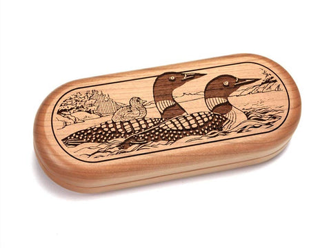 "Top View of a 5x2"" Pill Box with laser engraved image of Two Loons Swimming"