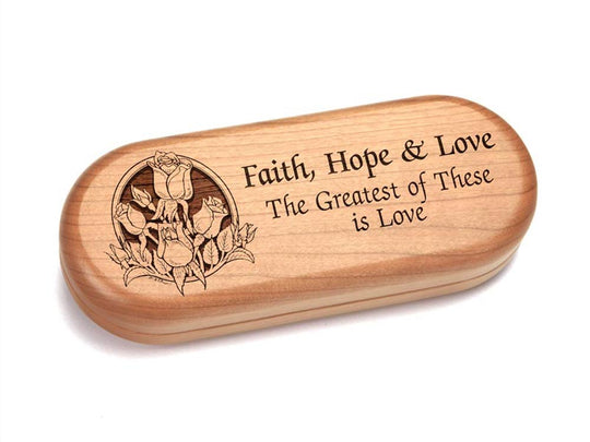 "Top View of a 5x2"" Pill Box with laser engraved image of Faith Hope & Love"
