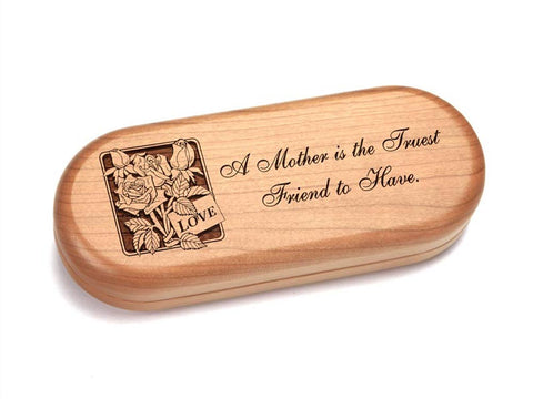 "Top View of a 5x2"" Pill Box with laser engraved image of Mother Friend"