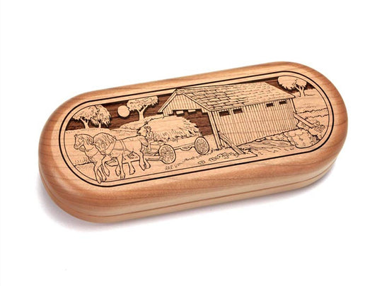 "Top View of a 5x2"" Pill Box with laser engraved image of Covered Bridge"