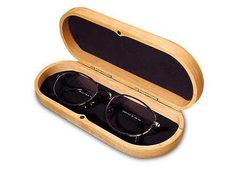 Top View of a Eyeglass Box with laser engraved image of Two Loons Swimming