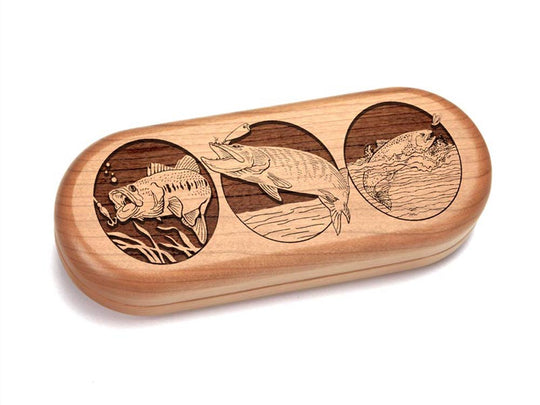 Top View of a Eyeglass Box with laser engraved image of Fishing