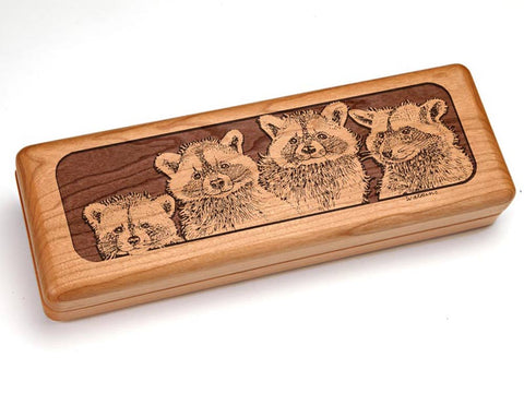 "Top View of a Hinged 10x4"" with laser engraved image of Raccoons"