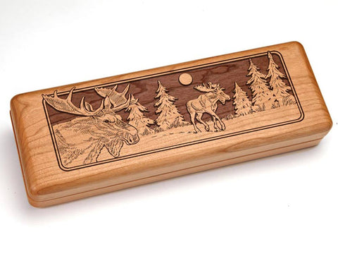 "Top View of a Hinged 10x4"" with laser engraved image of Moose"