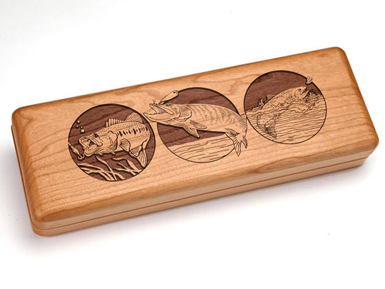 "Top View of a Hinged 10x4"" with laser engraved image of Fishing"