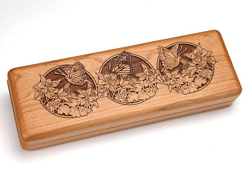 "Top View of a Hinged 10x4"" with laser engraved image of Butterflies"