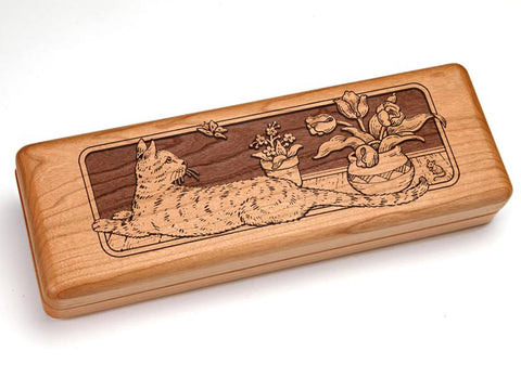 "Top View of a Hinged 10x4"" with laser engraved image of Outstretched Cat"