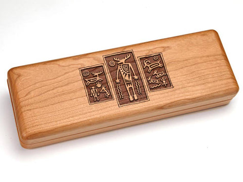 "Top View of a Hinged 10x4"" with laser engraved image of Petroglyph Triptych"