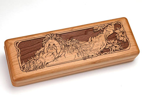 "Top View of a Hinged 10x4"" with laser engraved image of Orangutan"