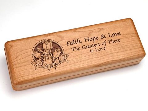 "Top View of a Hinged 10x4"" with laser engraved image of Faith Hope & Love"