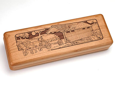 "Top View of a Hinged 10x4"" with laser engraved image of Covered Bridge"