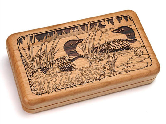 "Top View of a Hinged 7x4"" with laser engraved image of Loons Nestling"