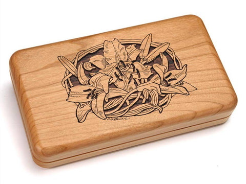 "Top View of a Hinged 7x4"" with laser engraved image of Lily"