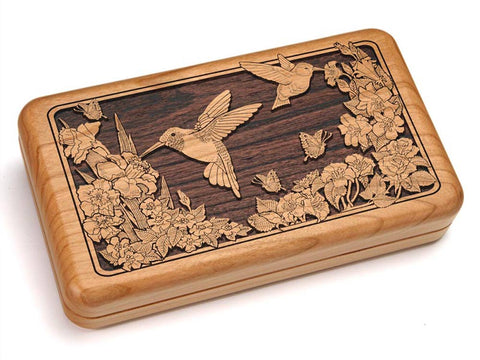 "Top View of a Hinged 7x4"" with laser engraved image of Two Hummingbirds"