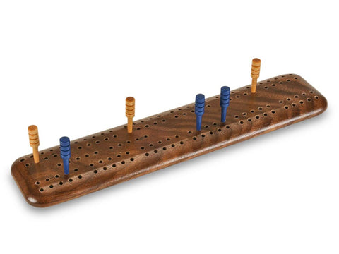 Top View of a Burl Walnut Travel Cribbage Board