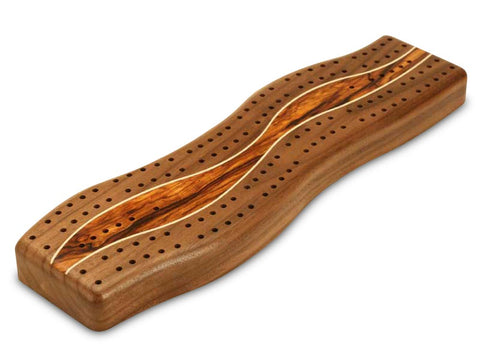 Top View with Pegs of a Walnut Center Wave Cribbage Board