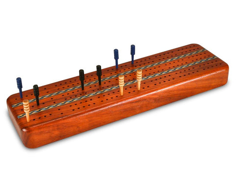 Top View of a Padauk Inlay 3 Track Cribbage Board w/ Cards