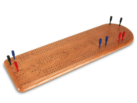 Top View of a Cherry Continuous 3-Track Cribbage Board