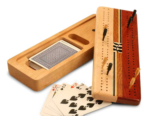 Inside View of a Cherry Cribbage Board Vine Top and Cards