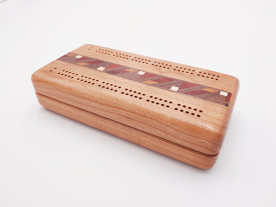 Top View of a Cherry Cribbage Board Inlay and Cards