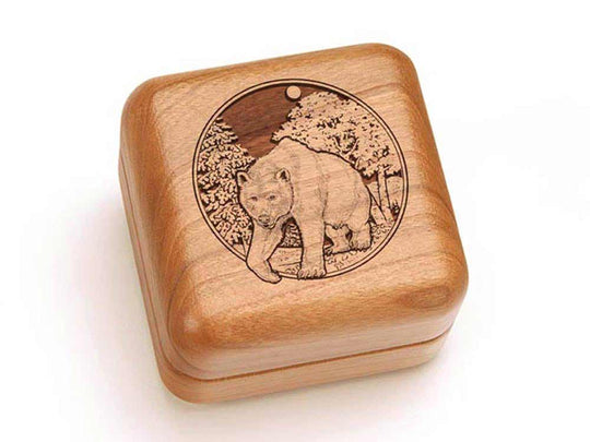 Top View of a Square Ring Box with laser engraved image of Bear/Woods