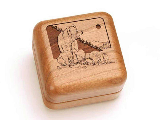 Top View of a Square Ring Box with laser engraved image of Bear & Cub