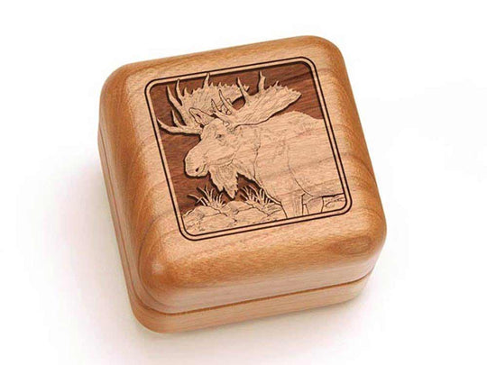 Top View of a Square Ring Box with laser engraved image of Moose Head