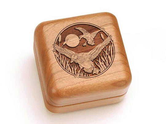 Top View of a Square Ring Box with laser engraved image of Duck