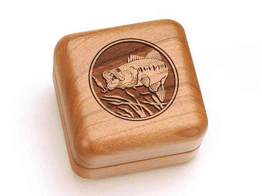 Top View of a Square Ring Box with laser engraved image of Bass