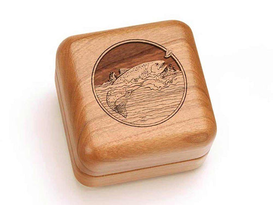 Top View of a Square Ring Box with laser engraved image of Trout