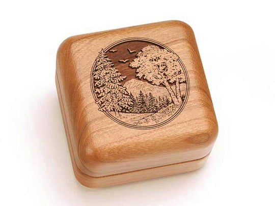 Top View of a Square Ring Box with laser engraved image of Mountain Scene