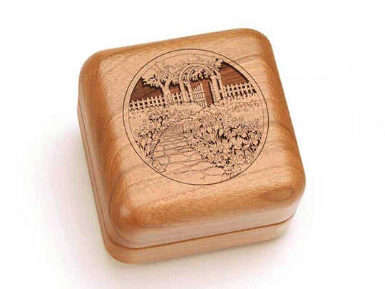 Top View of a Square Ring Box with laser engraved image of Garden Gate