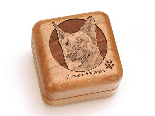 Top View of a Square Ring Box with laser engraved image of German Shepherd