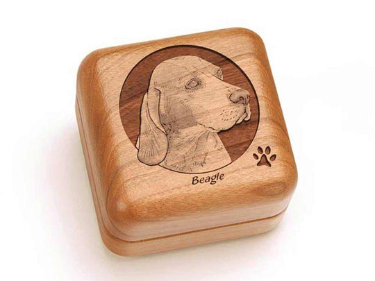 Top View of a Square Ring Box with laser engraved image of Beagle