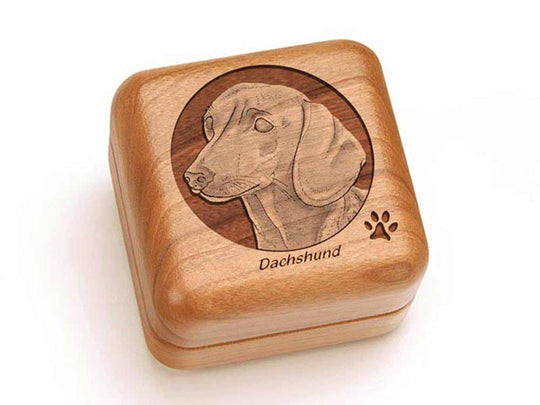 Top View of a Square Ring Box with laser engraved image of Dachshund