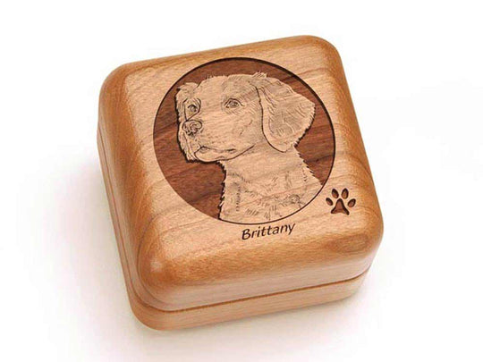 Top View of a Square Ring Box with laser engraved image of Brittany