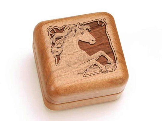 Top View of a Square Ring Box with laser engraved image of Horse & Rope Border