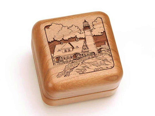 Top View of a Square Ring Box with laser engraved image of Lighthouse