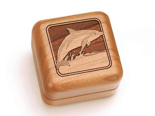 Top View of a Square Ring Box with laser engraved image of Dolphin
