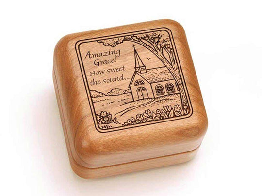 "Top View of a 2 1/2"" Square Ring Box with laser engraved image of Amazing Grace"