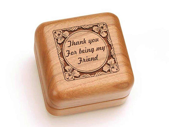 Top View of a Square Ring Box with laser engraved image of Thank You For Being My Friend