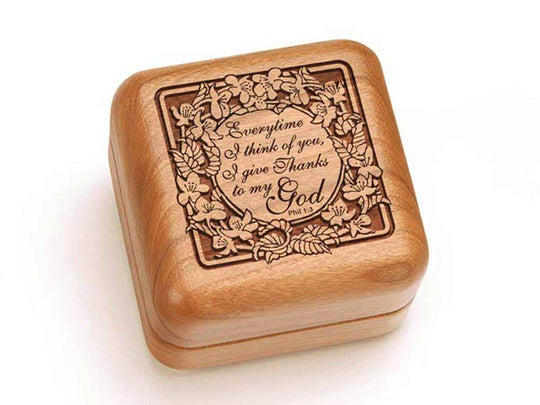 Top View of a Square Ring Box with laser engraved image of Phil 1:3