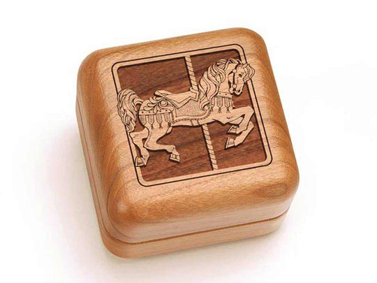 Top View of a Square Ring Box with laser engraved image of Carousel Horse