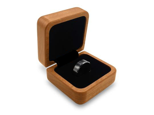 Inside of Box View of a Square Ring Box with laser engraved image of Bear & Cub